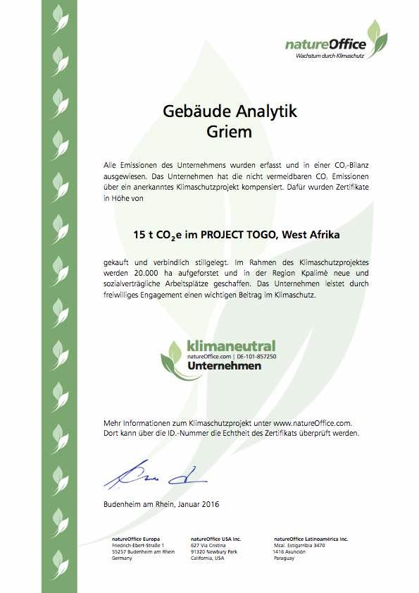 Zertifikat KNU Gebäudeanalytik Griem